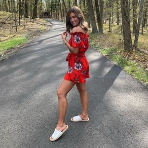 Red floral romper worn once